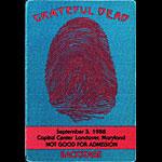 Grateful Dead 9/5/1988 Washington DC Backstage Pass
