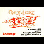 Rick Griffin Grateful Dead 9/8/1988 Philadelphia Backstage Pass