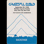 Grateful Dead 9/20/1988 New York City Backstage Pass