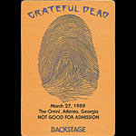 Grateful Dead 3/27/1989 Atlanta Backstage Pass