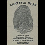 Grateful Dead 3/30/1989 Greensboro NC Backstage Pass