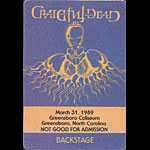 Rick Griffin Grateful Dead 3/31/1989 Greensboro NC Backstage Pass
