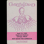 Rick Griffin Grateful Dead 4/12/1989 Chicago Backstage Pass