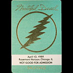 Grateful Dead 4/13/1989 Chicago Backstage Pass