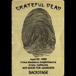 Grateful Dead 4/29/1989 Irvine CA Backstage Pass