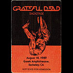 Grateful Dead 8/18/1989 Berkeley CA Backstage Pass