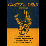 Grateful Dead 10/1/1989 Mountain View CA Backstage Pass