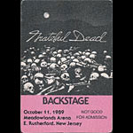 Grateful Dead 10/11/1989 East Rutherford NJ Backstage Pass