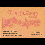 Grateful Dead 10/16/1989 East Rutherford NJ Backstage Pass