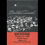 Grateful Dead 10/25/1989 Miami Backstage Pass
