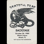 Grateful Dead 10/26/1989 Miami Backstage Pass