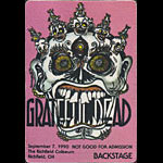 Reonegro Grateful Dead 9/7/1990 Richfield OH Backstage Pass