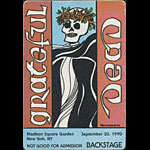 Reonegro Grateful Dead 9/20/1990 New York City Backstage Pass