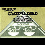 Grateful Dead 5/10/1991 Mountain View CA Backstage Pass