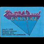 Grateful Dead 6/9/1992 Richfield OH Backstage Pass