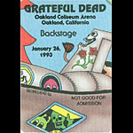 Reonegro Grateful Dead 1/26/1993 Oakland Backstage Pass