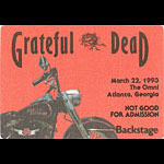 Grateful Dead 3/22/1993 Atlanta Backstage Pass