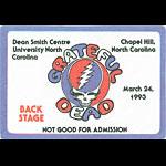 Grateful Dead 3/24/1993 Chapel Hill NC Backstage Pass