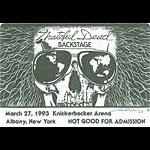 Grateful Dead 3/27/1993 Albany NY Backstage Pass