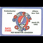 Grateful Dead 3/29/1993 Albany NY Backstage Pass