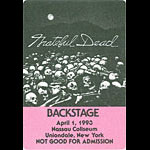 Grateful Dead 4/1/1993 Uniondale NY Backstage Pass