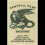 Grateful Dead 4/2/1993 Uniondale NY Backstage Pass
