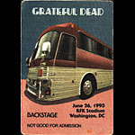 Grateful Dead 6/26/1993 Washington DC Backstage Pass