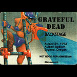 Reonegro Grateful Dead 8/21/1993 Eugene OR Backstage Pass
