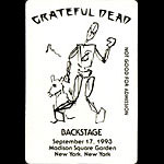 Garcia Grateful Dead 9/17/1993 New York City Backstage Pass