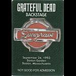 Grateful Dead 9/24/1993 Boston Backstage Pass