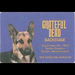 Grateful Dead 9/26/1993 Boston Backstage Pass