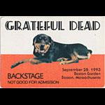 Grateful Dead 9/28/1993 Boston Backstage Pass
