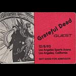 Grateful Dead 12/8/1993 Los Angeles Backstage Pass