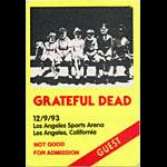 Grateful Dead 12/9/1993 Los Angeles Backstage Pass