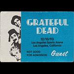 Grateful Dead 12/10/1993 Los Angeles Backstage Pass