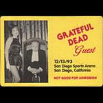 Grateful Dead 12/13/1993 San Diego Backstage Pass