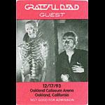 Grateful Dead 12/17/1993 Oakland Backstage Pass