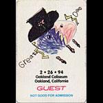 Jerry Garcia Grateful Dead 2/26/1994 Oakland Backstage Pass