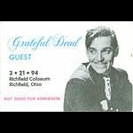 Grateful Dead 3/21/1994 Richfield OH Backstage Pass
