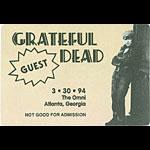 Grateful Dead 3/30/1994 Atlanta Backstage Pass