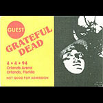 Grateful Dead 4/4/1994 Orlando Backstage Pass