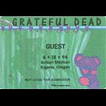 Grateful Dead 6/18/1994 Eugene OR Backstage Pass