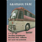 Grateful Dead 7/3/1994 Mountain View Backstage Pass