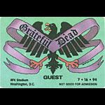Grateful Dead 7/16/1994 Washington DC Backstage Pass