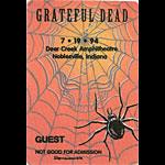 Grateful Dead 7/19/1994 Noblesville IN Backstage Pass