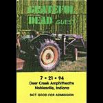 Grateful Dead 7/21/1994 Noblesville IN Backstage Pass