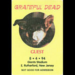 Grateful Dead 8/4/1994 NY Giants Stadium Backstage Pass