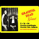 Grateful Dead 9/16/1994 Mountain View CA Backstage Pass