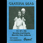 Grateful Dead 9/17/1994 Mountain View CA Backstage Pass
