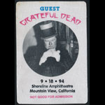 Grateful Dead 9/18/1994 Mountain View CA Backstage Pass
